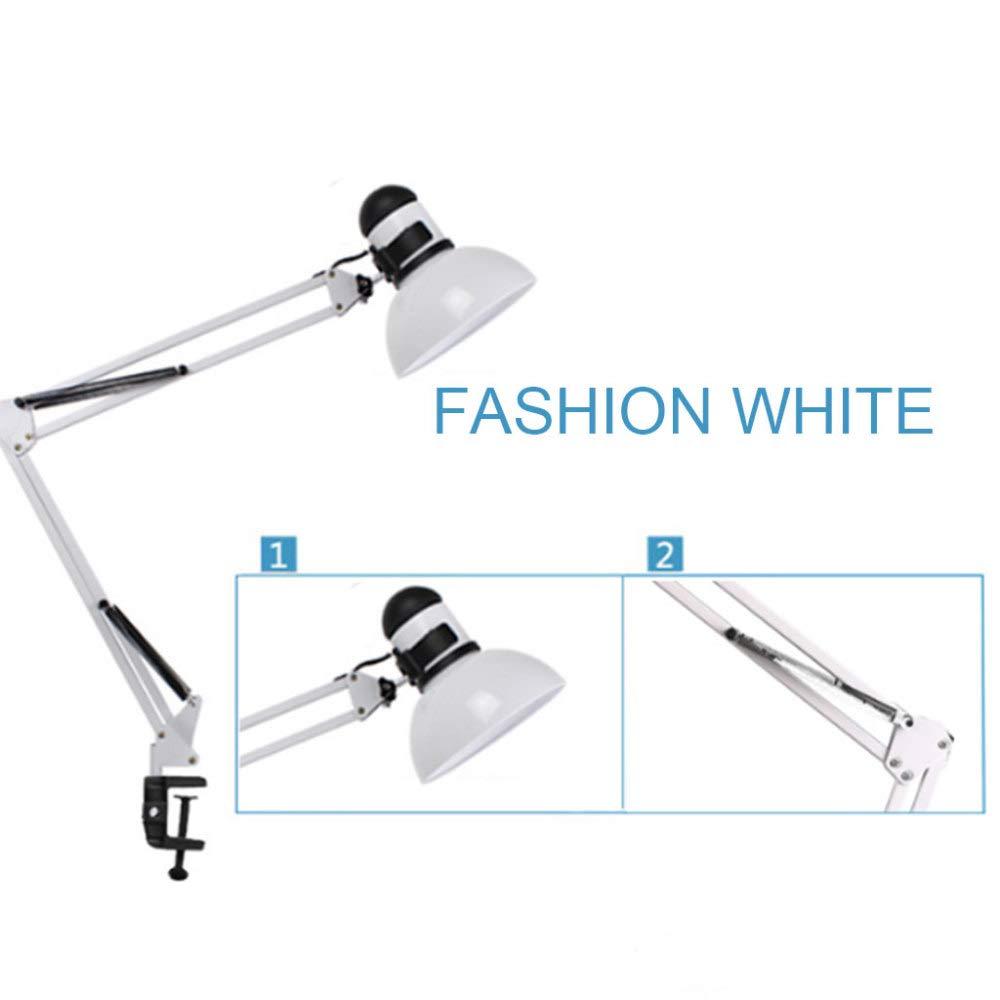 JYY LED-Schwenkarm-Schreibtischlampe Tischlampen-Multi-Joint-Metallklammer Zum lösen Von Arbeitsstudien Im Innenministerium Energiesparender Augenschutz,Weiß