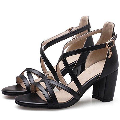 Coolcept Women Simple Cross Strap Sandals Black ykzRBr3p1Q