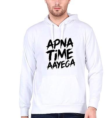 27dda4c4 EKTARFA Men's Cotton Apna Time Aayega Winter Wear Hoody (White, XXX-Large)