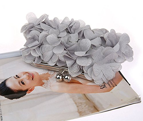 Petal Purse Bag Grey With Evening Lock Women Clutch Kissing Ornament Chain Crossbody XwS4qPrX6