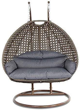 Island Gale Luxury 2 Person Wicker Swing Chair 2 Person X-Large-Plus, Latte Rattan Charcoal Cushion