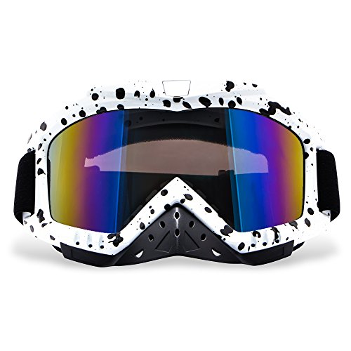 Motorcycle Goggles, Dmeixs Motocross Goggles Grip For Helmet Windproof Dustproof Anti Fog Safety Glasses for ATV Off Road Racing with Cool Look Headwear, Colorful Lens,Black Dot Frame Frame Off Road Goggles