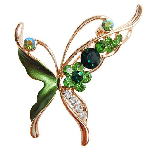 (Navachi 18k Gold Plated Green Enamel Crystal Butterfly Az7154b Brooch Pin)