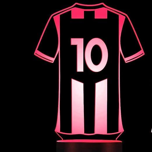 Camiseta de fútbol 3D de fútbol Luz nocturna Presentación de diapositivas LED 7 Cambio de color Interruptor táctil Mesa Decoración de escritorio Luz Regalo perfecto con base de acrílico plano ABS Cab:
