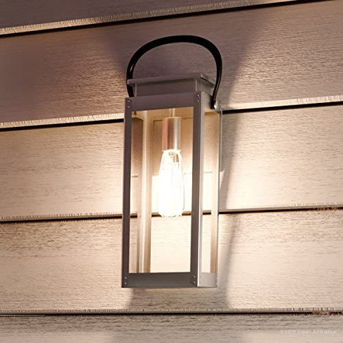 Luxury Modern Farmhouse Outdoor Wall Light, Medium Size 15.875 H x 6.5 W, with Nautical Style Elements, Stainless Steel Finish, UHP1130 from The Darwin Collection by Urban Ambiance