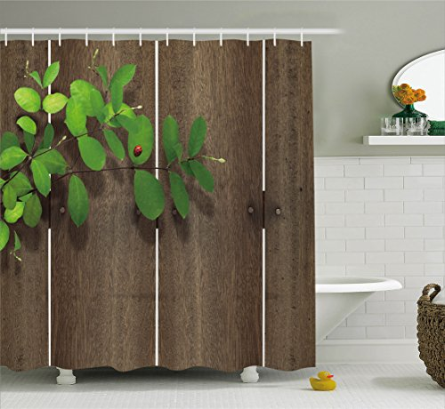 Ambesonne Ladybugs Decorations Collection, Ladybug on Leaf Wood Background Wooden Panel Timber Hardwood Fence Home Print, Polyester Fabric Bathroom Shower Curtain, 84 Inches Extra Long, Brown Green ()