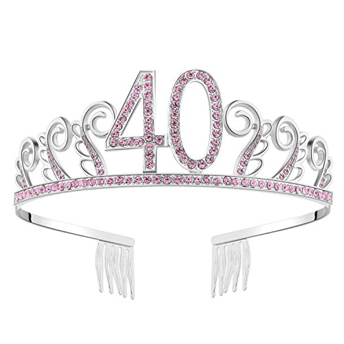 BABEYOND Crystal Birthday Tiara Rhinestone Princess Crown Happy Birthday Crowns Silver Diamante Happy 40th Birthday Tiara Crown (Pink-40th)