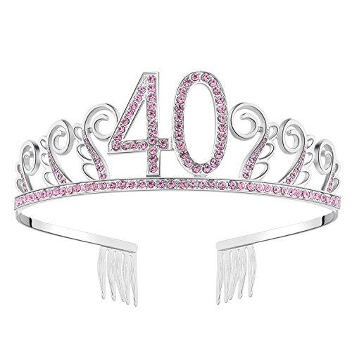BABEYOND Crystal Birthday Tiara Rhinestone Princess Crown Happy Birthday Crowns Silver Diamante Happy 40th Birthday Tiara Crown (Pink-40th) -