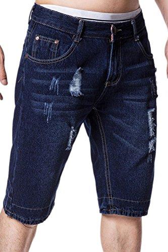 Los Hombres Mid Rise Jeans Denim Hoyos Cortos Pantalones De Pierna Recta Azul