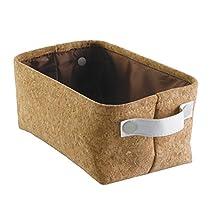 InterDesign Quinn Bathroom Storage Bin for Towels, Shampoo, Cosmetics-Small, Cork/White