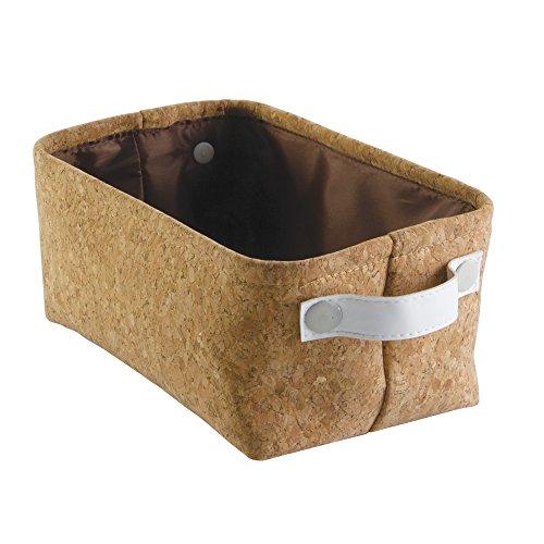 InterDesign Quinn Bathroom Storage Bin for Towels, Shampoo, Cosmetics - Small, Cork/White