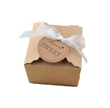 Monbedos - Caja para dulces con cinta de encaje, estilo retro, caja de regalo