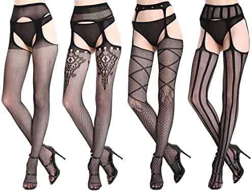 3970c0500680d CherryDew Womens Sexy Suspender Pantyhose Fishnet Garter Stockings  Patterned Thigh High Tights Black 4 Pack