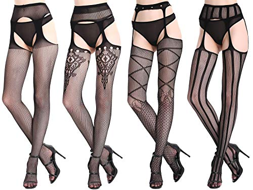 CherryDew Womens Sexy Suspender Pantyhose Fishnet Garter Stockings Patterned Thigh High Tights Black 4 Pack