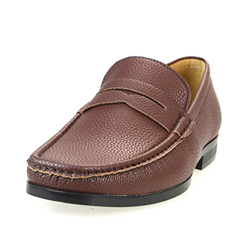 AN Mens Penny Loafer Dress Shoes Slip On Casual Shoes Brown Grain 42 EU (US