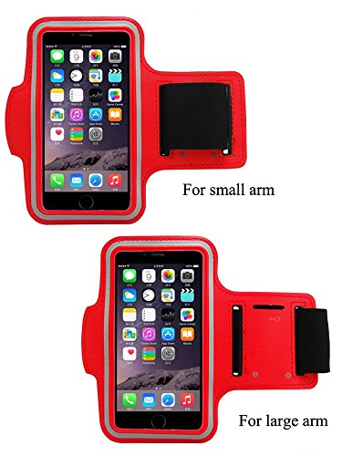 BTOOP iPhone 6 Plus Sport Armband Best for Running & Exercise Gym Sportband Perfect Fit for Samsung N7100/ GALAXY Note2/3/4, Lenovo k900 with One BTOOP Microfiber Cleaning Cloth(iPhone 6 Plus Red)