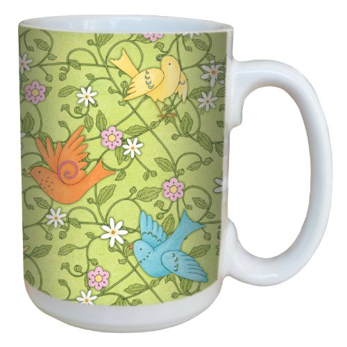 Tree-Free Greetings 79247 Birds and Vines by Debbie Mumm Ceramic Mug with Full-Sized Handle, 15-Ounce