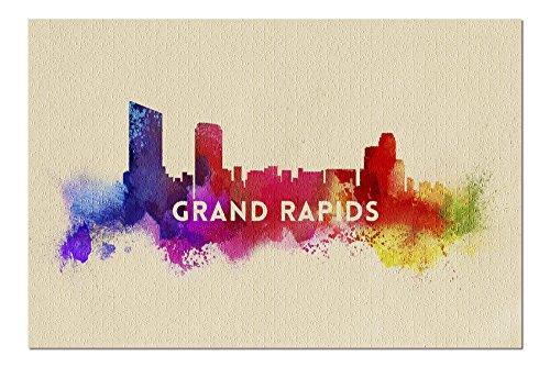 Rapids Park Grand - Grand Rapids, Michigan - Skyline Abstract (20x30 Premium 1000 Piece Jigsaw Puzzle, Made in USA!)
