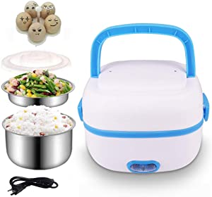 Sethruki Electric Lunch Box Heater Portable Food Warmer Bento Food Grade Material 2 Layers Steamer with Stainless Steel Bowls and Plate, Egg Steaming Rack,Cup,For Home and Office