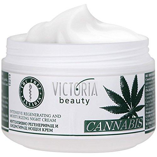Victoria Beauty - Hanfcreme - Cannabis Nachtcreme - Anti-Aging Augencreme gegen Falten und dunkle Augenringe - 50ml