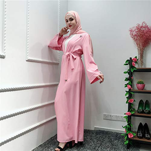 Sayhi Muslim Fashion Women's Beaded Cardigan Robes Arabian Traditional Loose Dress Slamic Dresses(Pink,XL) by Sayhi (Image #1)