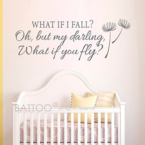 BATTOO What If I Fall Oh My Darling What If You Fly Wall Decals - Inspirational Quotes Vinyl Lettering Girls Bedroom Nursery Wall Art Decor(dark gray 30'' WX11 H)