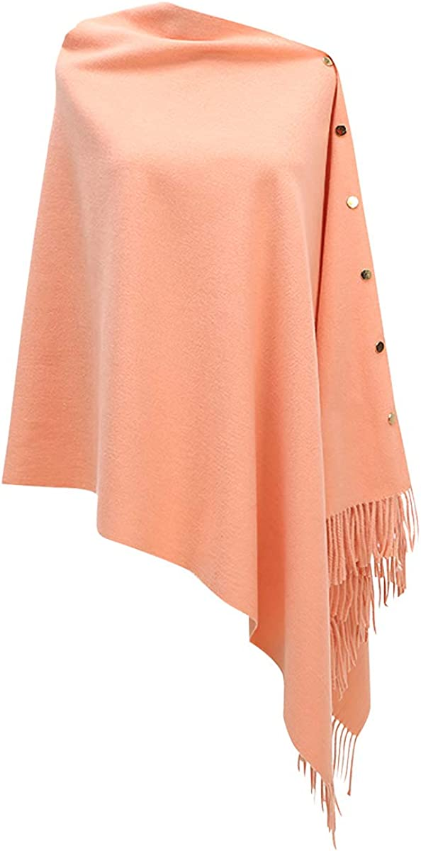 CARCOS Donna Poncho con Frange e Bottoni Scialle Cardigan Sciarpa Mantella Elegante Caldo per Primavera Autunno Inverno