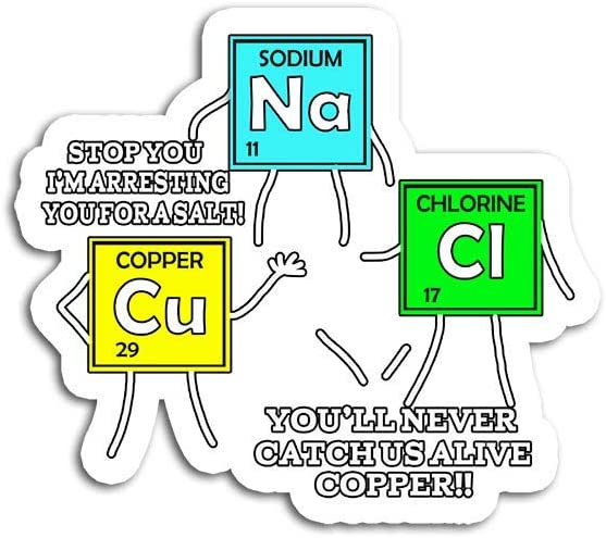 Decal Stickers for Laptop Sticker for Tumblers Salt and Copper Periodic Table Police Pun Chemistry Waterproof Decal Perfect for Phone Water Bottle Vehicles (5 Pcs/Pack)