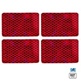 """Amber/Red 2x3"""" Rectangle High Visibility Reflective Stick-On Prism Reflector 
