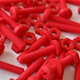 20 x Red Philips Pan Head Screws Polypropylene (PP) Plastic Nuts and Bolts, M5 x 20mm, Washers, Acrylic, Water Resistant, Anti-Corrosion, Chemical Resistant, Electrical Insulator, Strong.