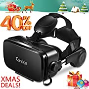 #LightningDeal 92% claimed: Canbor VR Headset, Virtual Reality Headset 3D VR Goggles Glasses with HD Stereo Headphones FOV 120 for 4.7-6.2 Inches Apple iPhone, Samsung HTC More Smartphones