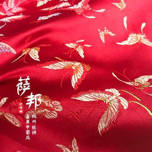 Vintage Flowers Satin Fabric Imitate Silk Brocade Fabric Damask Jacquard Apparel Costume Upholstery Furnishing Tissu 75 50cm