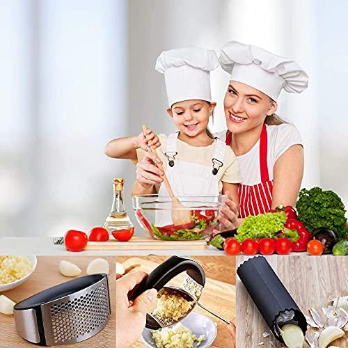 Presse-ail, Acier Inoxydable, Extra Fort et Durable, Va au Lave-vaisselle, Deux outils d\'épluchage à l\'ail et deux brosses, Cuisine Indispensable