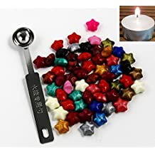 CHENGYIDA SET 50pcs Star Shape Sealing Wax Bead + 1 Mini Spoon + 1 Small Candle Pack