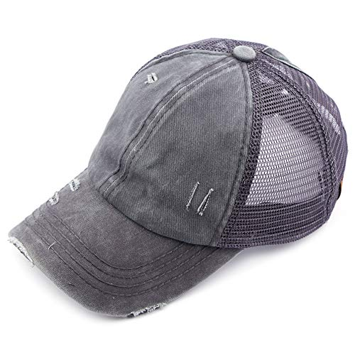 (C.C Hatsandscarf Exclusives Washed Distressed Cotton Denim Ponytail Hat Adjustable Baseball Cap (BT-13) (DK Grey))