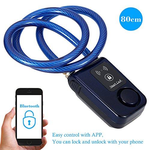 Wire Rope Smart Alarm Bluetooth Waterproof 110dB Bike Outdoor Anti Theft Lock