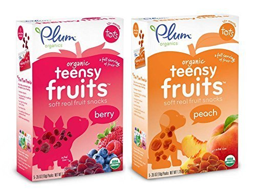 (Plum Organics Teensy Fruits Bundle: 1 Box each of Peach and Berry Soft Fruit Snacks)
