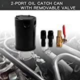 Sporacingrts Universal 2-Port Oil Catch Can Reservoir Tank Black + Drain Valve,1 Inlet 1 Outlet
