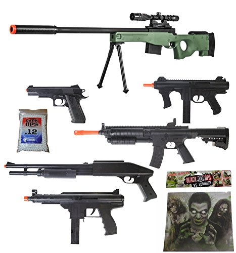 Green Shadow Airsoft Sniper Gun Rifle + Shotguns + Pistol Tec9 SMG + Targets - Airsoft Sniper Rifle Shadow Ops