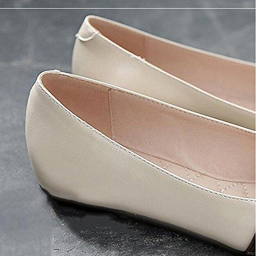 Talon bureau décontracté Femmes Carrière Chaussures beige 1cm Noir uk3 Pointe Flats Beige Eu36 jaune Toe Le Taille couleur Fufu Jaune 5 Et Pour Extérieur cn35 tz7Iqww
