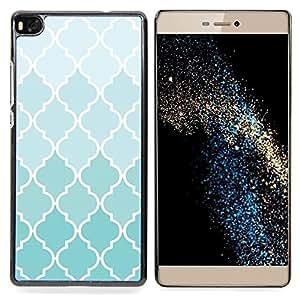 For HUAWEI P8 - Wallpaper Light Blue White Pattern Design /Modelo de la piel protectora de la cubierta del caso/ - Super Marley Shop -