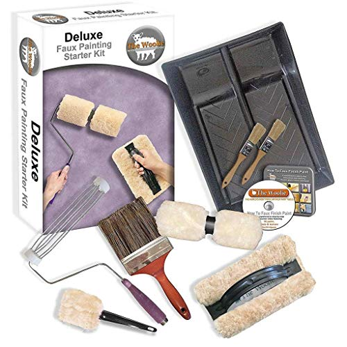 The Woolie Original and Woolie 2-Color Dual Split Roller Deluxe Multi-Techniques Sheepskin/Lambswool Faux Painting Kit for ()
