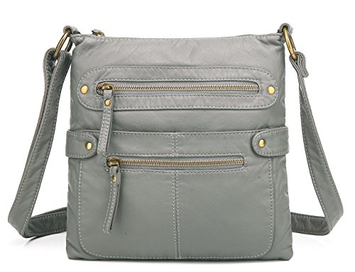 Scarleton Small Crossbody Shoulder Bag for Women, Ultra Soft Washed Vegan Leather, Grey, H182024 ()