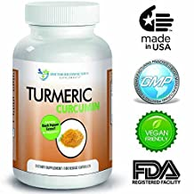 Turmeric Curcumin - 2250mg/d - 180 Veggie Caps - 95% Curcuminoids with Black Pepper Extract (Piperine) - 750mg capsules - Most powerful Turmeric Supplement - by Doctor Recommended by Doctor Recommended