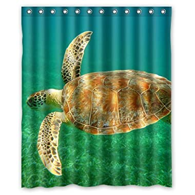 InterestPrint Sea Turtle Waterproof Polyester Fabric 60 (w) x 72 (h) Shower Curtain