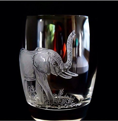 Old African Elephant (African Safari, Elephant, double old fashion glass)