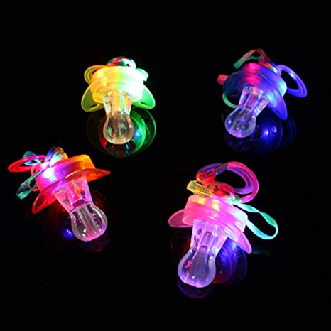 Amosfun 4pcs Led Light Up Pacifier Necklace Whistle Noisemaker Toys Kids Music Toy Birthday Party Favors Gifts Random Color