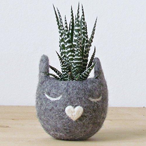 Felt succulent planter / Grey Decorative Felt Flower Pot / Cat lover gift for her / small indoor planter (Vases Yarn Flower)