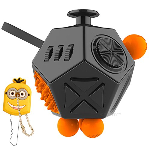 WBESEV Fidget Cube 12 Sides Stress toy Anti-anxiety and Depression Increases Focus and Attention for Children and Adults with ADHD ADD and Autism with Mini Key Chain Gift Multicolor(2nd version 2017)