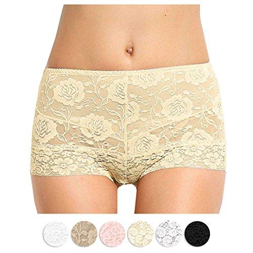 Lace Shorts Microfiber (Eve's temptation Janice Women's High Waist Lace Breathable Panties-Yellow)